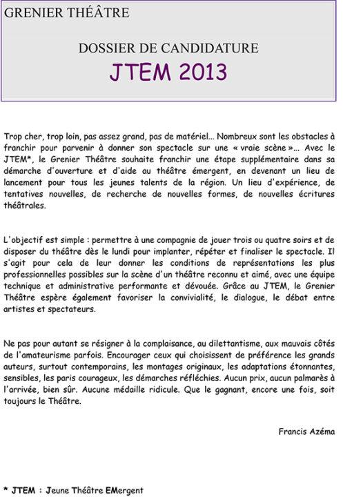 Candidature jtem le grenier th tre toulouse saison 2016 2017 - Dossier candidature location ...